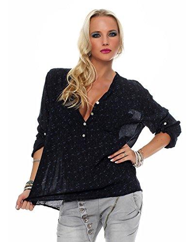 Zarmexx feine Viskosebluse Hemdbluse Fischerhemd Regular fit leichte 3/4-Arm Sommerbluse Tunika zart geblümt schwarz One Size (38-42)