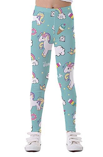 Coralup - Mallas elásticas coloridas para niñas pequeñas, diseño de unicornio, impresión 3D, pantalones casuales, longitud completa de 2 a 10 años Azul azul 2-3 Años