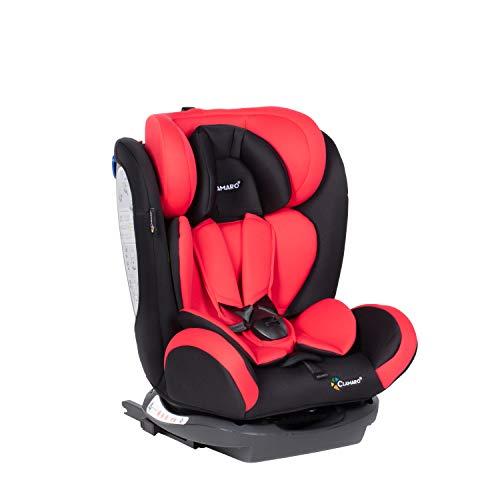 Clamaro \'Ranger 4in1\' Isofix Autokindersitz Gruppe 0+, I, II und III (0-36 kg), mitwachsender Baby- und Kinderautositz ab 0 bis 12 Jahre, verstellbare Kopfstütze und Rückenlehne, Schwarz/Rot