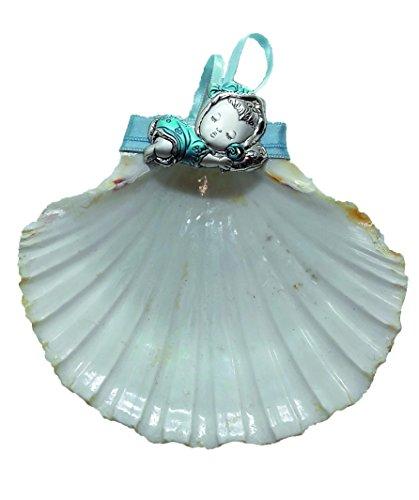 Concha de Bautismo de Vieira natural y motivo de Plata bilaminada y esmalte, Incluye estuche con adornos bautismales, perfumada. Autopersonalizable.