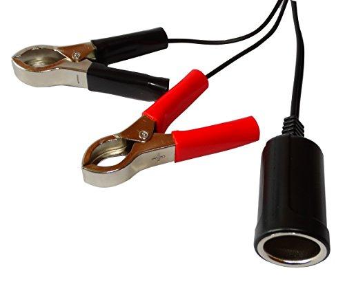 Aerzetix - Presa accendisigari femmina con pinze spina per alimentazione a batteria 5V-12V, 5A adattatore .