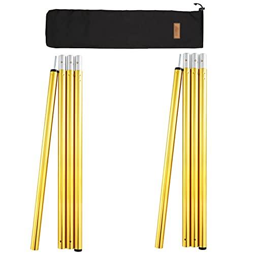 Mastil para Toldo 280cm 2 pcs,Barras Telescópicas Ajustables A Prueba de Viento Aleación de Aluminio,para Lona Vela de Sombra o Toldo Vivac Accesorios Camping Varillas Tienda(Size:32mm,Color:amarillo)