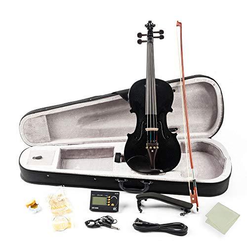 LOIKHGV Geige- Matt/Schwarz 4/4 Full Size Massivholz Akustische Elektrische Violine Geige Kit mit Bogen Hard Case Schulterstütze Tuner Kabel Kolophonium, A