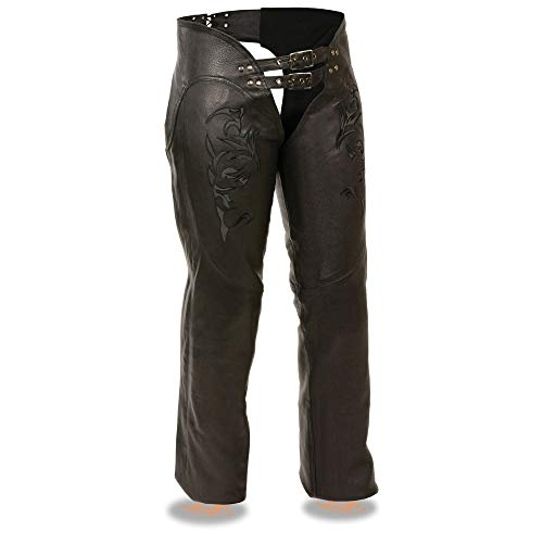 Milwaukee Leather ML1187 Ladies Black Leather Chaps with Reflective Tribal Embroidery - Large