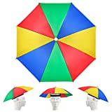 Yue Paquete de 5 gorras de paraguas con bandas elásticas, paraguas de arco iris ajustable, gorra de pesca impermeable para adultos y niños
