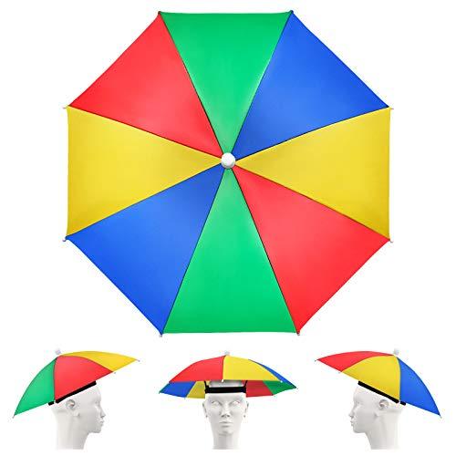 Yue Lot de 5 casquettes de parapluie avec bandes élastiques, réglables, arc-en-ciel, casquette de pêche étanche pour adultes et enfants