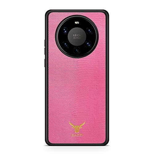 GAZZI Lederhülle für Huawei Mate 40 PRO Hülle Hülle Schale Backcover Handyhülle Schutzhülle Echt Leder, R&umschutz, Flexible Schale (Lizard Rosa Gold)