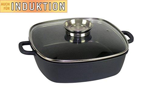 XL Fisko Profi Aluminium Bräter #802393 mit Aromadeckel - 4,8 Liter Inhalt - induktionsgeeignet