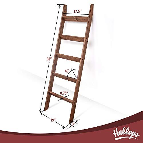 Blanket Ladder 5 ft. Wood Rustic Decorative Quilt Ladder. Brown Vintage Wooden Decor. Throw Blankets Holder Rack