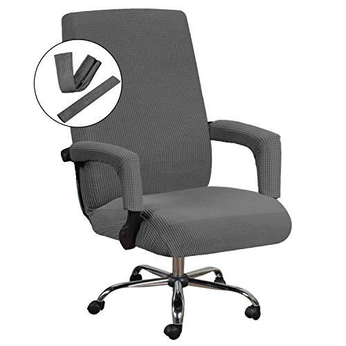 Funda para silla de oficina de jacquard, licra, para silla de ordenador, universal, lavable a máquina, supersuave, con fundas para brazo de silla de oficina, tamaño mediano, gris