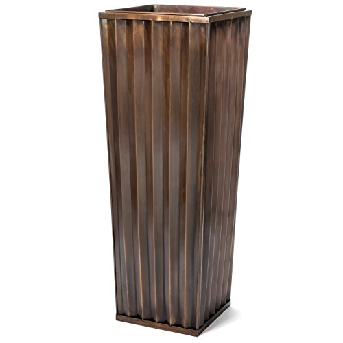 H Potter Tall Planter Large Outdoor Copper Antique Flower Pot Indoor Patio Deck Ribbed Garden 29 Inches High