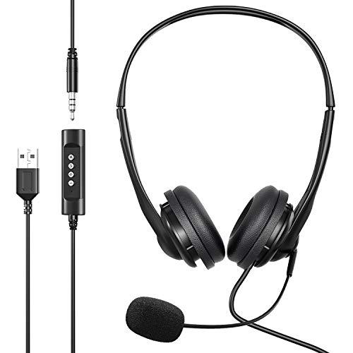 Newaner PC Headset, USB Headset/3.5mm Computer Headset, Stereo Sound Leicht Business Headset mit flexiblen Mikrofon, Telefon Headset für Skype Voip Teamspeak Mac PC Smartphone Tablet