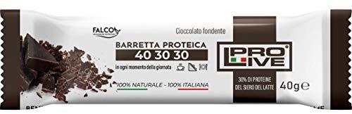 PROLIVE 40 30 30 FONDENTE – Barrette Proteiche a zona 40 30 30, Senza Zuccheri Aggiunti, Croccante, Puro Cioccolato Fondente, 30% Proteine Del Siero del Latte (Whey Protein)(12x40g)