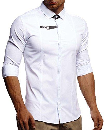 Leif Nelson LN3335 Witte herenhemd, slim fit, lange mouwen, zwart, stretch, korte mouwen, vrijetijdshemd met lange mouwen
