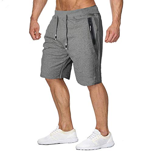 MANSDOUR Men 's Casual Workout Shorts Cotton Comfy Sport Running Shorts Drawstring with Zipper Pocket Dark Grey, 34