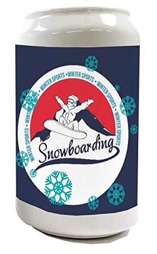LEotiE SINCE 2004 Spardose Sparbüchse Geld-Dose Wiederverschließbar Farbe Weiß Sport Snowboard Keramik Bedruckt