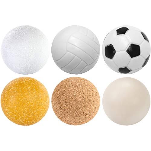 Maxstore Kicker Bälle Mischung, 6 Stück, 6 unterschiedliche Sorten (Kork, PE,PU, ABS), Durchmesser 35mm, Tischfussball Kickerbälle, Kicker-Ball