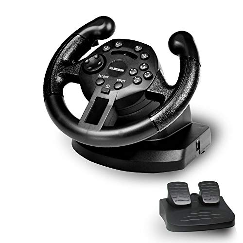 GAMEMON Mini dualshock Racing Wheel compatible with Playstation3 PS3/PC USB (D-Input&X-Input)