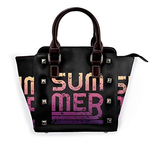 Surfrider Beach - Bolso de mano para mujer, de piel con remaches, bolso grande para el trabajo, color Naranja, talla Talla única