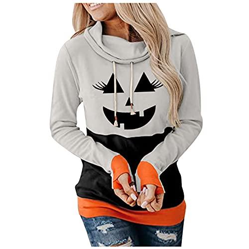 Amphia Damen Kontrastfarbe Halloween 3D Kürbis Pulli Pullover Rollkragen Sweatshirt Kapuzenpulli Top Hoodies