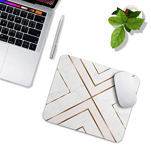 Mouse Pad White Chic Pattern Cute Desk Mousepad Non-Slip Rubber Custom Computer Accessories Gaming Mouse Pad Rectangle Mouse Pads for Home and Office Work Photo #4