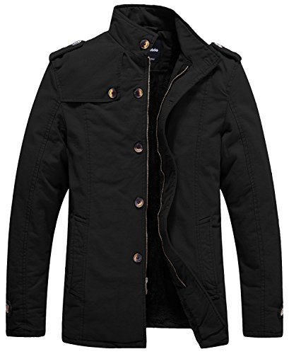 Wantdo Men's Winter Cotton Stand Collar Coat Fleece Lined Windbreaker Jacket US Large, Black
