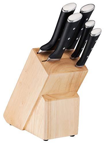 TEFAL Ice Force K232S574, Zestaw 5 noży w drewnianym bloku, Wyjątkowa trwałość i skuteczność, Nóż szefa kuchni 20cm, Nóż do chleba 20cm, Nóż Santoku 18cm, Nóż uniwersalny 11cm, Nóż do warzyw 9cm