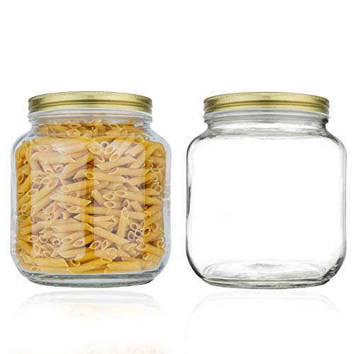 Half Gallon Mason Jar Wide Mouth with Airtight Metal Lid - Safe for Fermenting Kombucha Kefir - Curing Pickling, Storing and Canning - BPA-Free Dishwasher Safe by kitchentoolz (Gold Lid, 2)