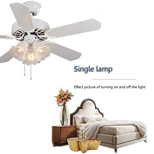 CDDQ Ventilador de Techo con luz,5 Aspas de Madera,3 Velocidades de Ventilación,105/130cm,Mando a Distancia,Blanco