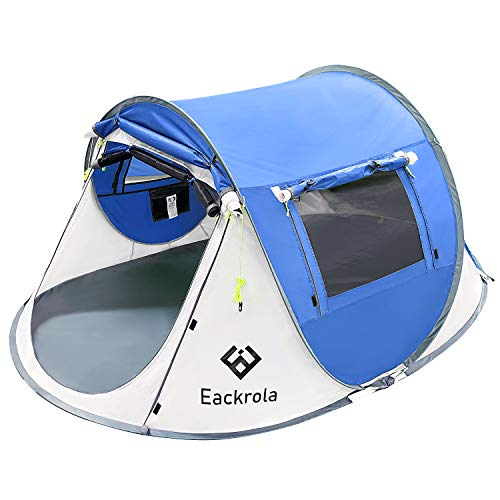 Eackrola 2-Person-Tent, Instant Pop up Tent for Camping, Easy Setup Beach Tent Sun Shelter - Ventilated Mesh Windows, Water Resistant, Carry Bag Included (Blue)