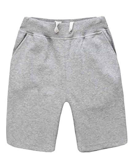 H&E - Pantalones cortos deportivos de algodón con cordón elástico para hombre, color sólido Gris gris 42