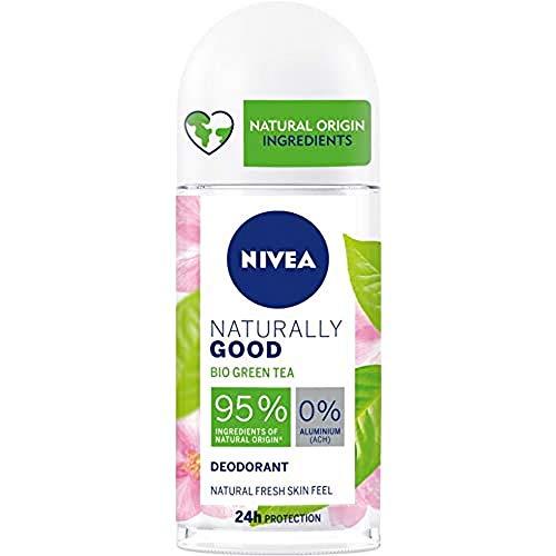 NIVEA Naturally Good Desodorante con Té Verde Roll on (50 ml), Desodorante natural 100% vegano, desodorante sin aluminio con protección 24 horas para una piel fresca