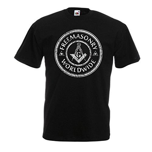 Camisetas Hombre Francmasonería - Logotipo de la cuadrilla y del compás - G Gnosis - Regalos masónicos (XXXX-Large Negro Multicolor)