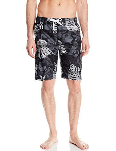 Kanu Surf Men's Barracuda Swim Trunks (Regular & Extended Sizes), Paradise Black, Large