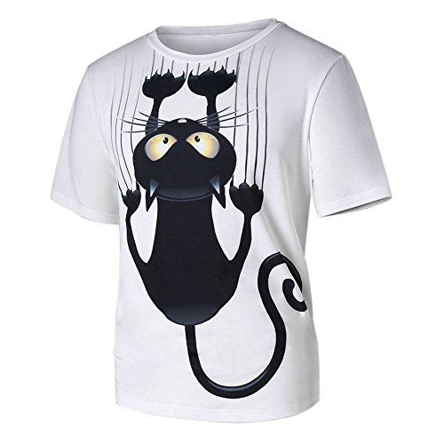 Camisas Hombre Manga Corta LANSKIRT Unisex Camiseta de Pareja con Estampado de Gatos para Hombres y Mujeres Blusas t Shirt Polos Tops Verano Casual
