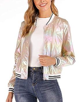 andy & natalie Women s Holographic Jackets Glitter Bomber Jacket Shiny Metallic Jacket