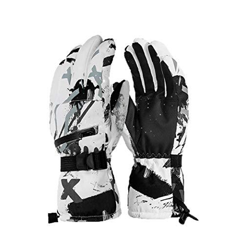 XKJFZ Graffiti Ski Fäustlinge Touch Screen Thermal Fäustlinge mit Zipper Winddichtes Outdoor-Handschuhe für Männer Frauen, Grau, Weiß Graffiti-Art-M 1 Paar Winter warm Supplies