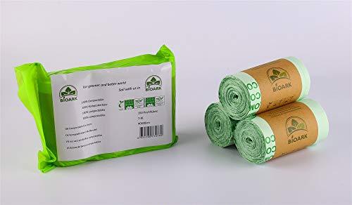 Bolsas de basura biodegradables 100 % BIOARK, 7 - 8 litros, 150 unidades, extragruesas, biodegradables y compostables, con certificado TUV Home ok Compost