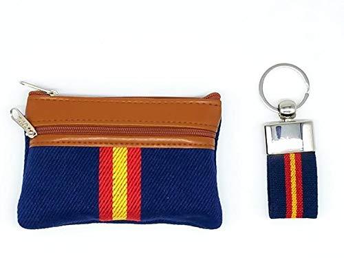 Monedero Azul Marino Polipiel y Tela Bandera España y Llave