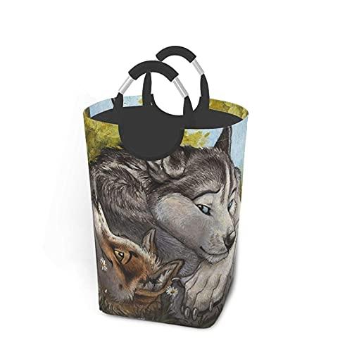 IUBBKI 50L Cesto de lavandería Wolf 's Gaze Paquete de Ropa Sucia Plegable Durable y fácil de Usar en dormitorios universitarios Dormitorio de niños Baño Oficina en casa