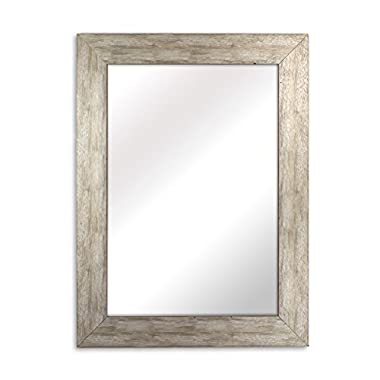 Raphael Rozen Elegant - Modern - Classic - Vintage - Rustic - Hanging Framed Wall Mounted Mirror, Distressed Wood Finish, Gray - White Color