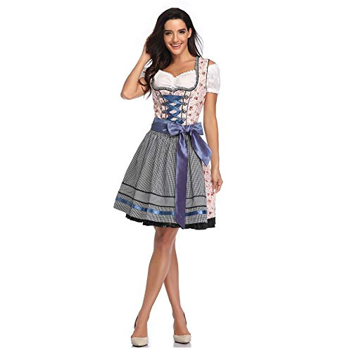 Pijamas para Mujer Pijama Sexy Disfraz Tradicional De Oktoberfest Alemania Baviera Wench Disfraz Vestido De Niña De Cerveza-Azul_SG