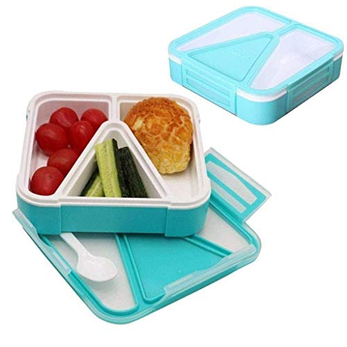 Nfudishpu Kids Bento Box Lunch Box Durable Leak-Proof with Toddler, Friendly Locks Compartiments, BPA-Free Bento Box Containers with Removable Tray (Color: Green) (Color: Green)