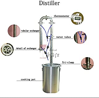 Dibosh DIY 16 Gal 60 Liters Home Distiller Moonshine Alcohol Still Stainless Boiler Copper Cooling Coil Wine Distilling Tower Distiller Set