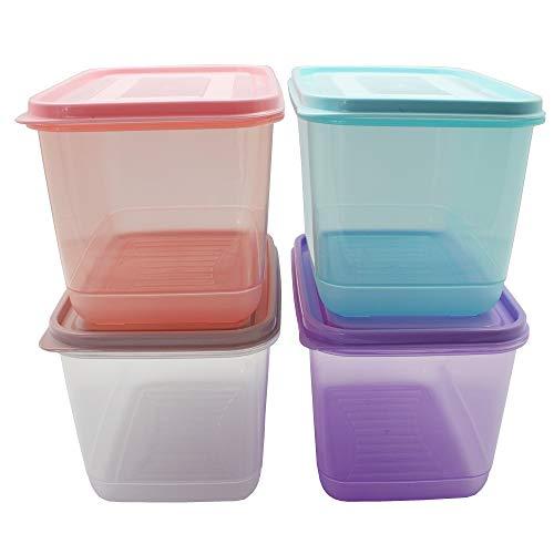 Gefrierdosen - Frischhaltedosen zur Aufbewahrung farblich sort. 1,0 L oder 2,1 L - für Mikrowelle und zum Einfrieren Größe 4 x 2,1 Liter