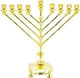 The Dreidel Company Large Menorah Rambam Design - Polished Brass, Hanukkah Oil or Large Candle Menora
