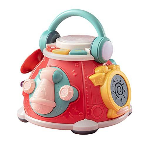 MODEO Juguete De Cubo De Actividad Musical, Juego De Rompecabezas De Cubo De Actividad 5 En 1 para Niños Pequeños/Cubo De Actividad De Educación Temprana para Bebés De 1 a 3 Años (sin Batería),Rojo