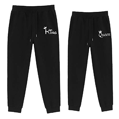 Sevpuikl King Queen Sweatpants für Damen Heeren Couples Pants Jogginghose Slim Fit Trainingshose Sporthose Freizeithose Fitnesshose Baumwolle 1 Stück