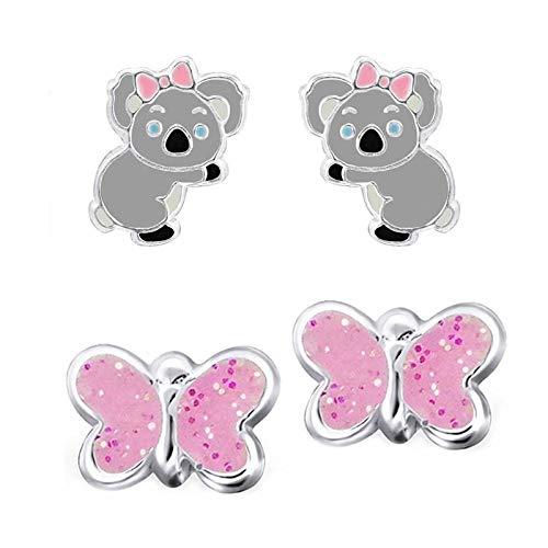 Five D Juego de 2pares infantil pendientes Koala oso y purpurina mariposa de plata 925en estuche de regalo