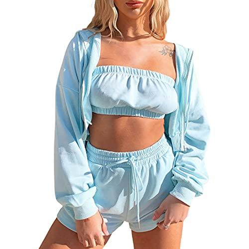 Kaenwang Conjunto de ropa deportiva de fitness para mujer, 3 piezas, chaqueta con capucha de color sólido, tapas y pantalones cortos, azul, M